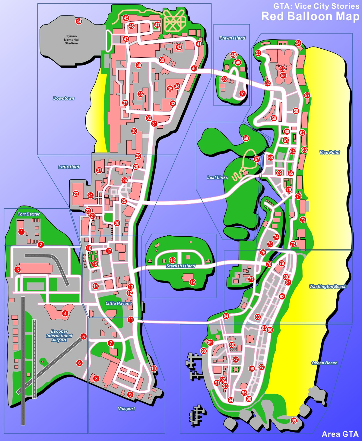 Grand theft auto vice city stories 99 red balloons map : Neo coin